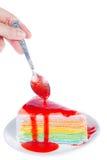 人的可口蛋糕手和片断,隔绝在白色backgro 库存图片