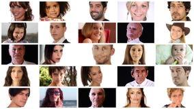 人的各种各样的面孔的构成 股票视频