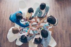 人的团结和连接 投入thei的伙伴Topview  免版税图库摄影
