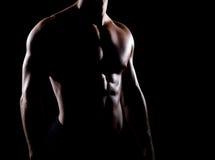 人的坚强和强健的身体被遮蔽在黑背景 免版税图库摄影