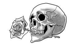 人的头骨与在嘴例证纹身花刺上升了 库存例证