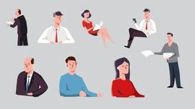 人的字符 企业概念完善对动画或动画片 生活方式故事女商人商人传染媒介illustrati 免版税库存图片
