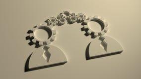 人的式样连接 3D概述剪影 免版税库存图片