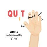 人的手和被放弃的烟草标志 世界无烟草日 向量例证
