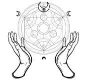 人的手接触一个冶金圈子 神秘的标志,神圣的几何 库存照片