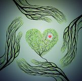 人的手看起来象树枝并且拿着树心脏,爱自然概念,保护树想法, 库存例证