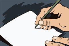人的手仿照流行艺术和老漫画样式的 空白的纸片您的消息的在人的手上 库存图片