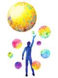 人的抓住月亮力量,启发抽象想法,世界,在您的头脑里面的宇宙 免版税库存照片
