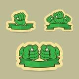 人的拳头绿色动画片例证 图库摄影