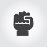 人的拳头象-成长,刺激,改进的标志 指关节平的商标  等高握紧的手指图表 免版税库存照片