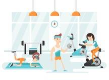 人的新和现代例证健身房的 免版税库存照片
