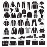 人的时尚衣裳和辅助部件-例证 免版税库存照片