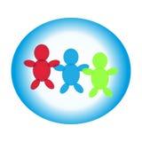人的标志蓝色圆环的在白色背景 免版税库存照片