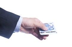 人的现有量拿着一盒欧元 免版税库存照片