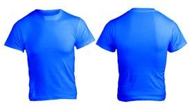 人的空白的蓝色衬衣模板 免版税库存图片