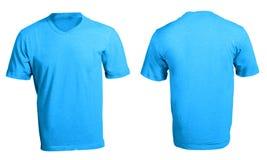 人的空白的蓝色V脖子衬衣模板 免版税图库摄影