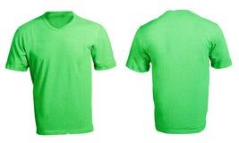 人的空白的绿色V脖子衬衣模板 库存照片