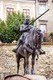 人的纪念碑有马的在萨格勒布中心城市正方形  库存图片