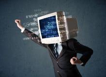 人的网络显示器个人计算机计算的计算机数据概念 免版税库存照片