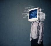 人的网络显示器个人计算机计算的计算机数据概念 图库摄影