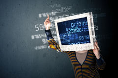 人的网络显示器个人计算机计算的计算机数据概念 库存图片