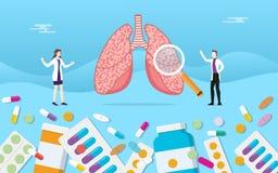 人的肺医学健康药片使与医生分析的胶囊治疗服麻醉剂- 皇族释放例证