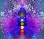 人的能量身体,气氛,在凝思的chakras 向量例证
