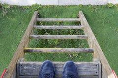 人的脚梯子的 库存图片