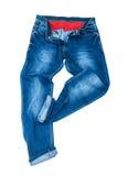 人的蓝色牛仔裤跳舞 免版税库存图片