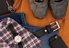 人的衣物和辅助部件 免版税库存图片
