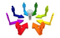 人的配合方向概念电灯泡链接五颜六色的白色背景 向量例证