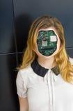 人的靠机械装置维持生命的人机器人 免版税库存照片