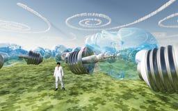 人的面对的电灯泡和螺旋云彩 免版税库存图片