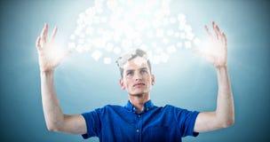 人的综合图象蓝色衬衣的有胳膊的培养了3d 免版税库存图片