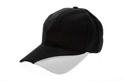 人的黑白高尔夫球帽白色背景的 库存照片