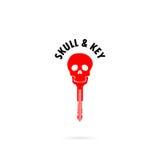 人的头骨剪影和关键象 人的头骨和钥匙纹身花刺 免版税库存照片