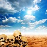 人的头骨在沙漠 免版税图库摄影