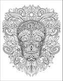人的头骨由花制成, 免版税库存照片
