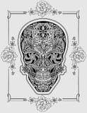 人的头骨由花制成 库存例证