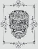 人的头骨由花制成 向量例证