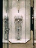 人的头骨由水晶做成 装饰的元素在衣物的 库存照片