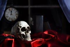 人的头骨红色缎 免版税库存图片