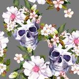 人的头骨,在难看的东西样式的花 无缝的模式 水彩 免版税图库摄影