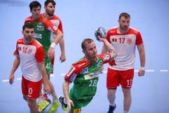 人的EHF杯迪纳莫队布加勒斯特- SC马格德堡 免版税库存照片