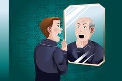 年轻人看更老的他自己在镜子 库存例证
