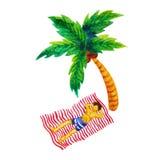 人睡眠晒日光浴在椰子树paintinting动画片的水彩下 库存照片