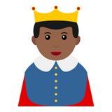 黑人矮小的国王Avatar在白色的Flat Icon 库存照片