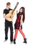 人种间年轻夫妇音乐 库存图片