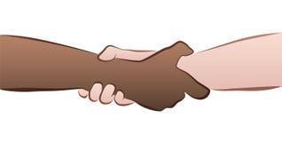 人种间握手夹子 免版税库存照片