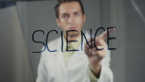 人科学家在玻璃写词`科学` 影视素材
